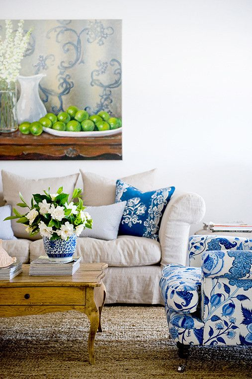 couch with Chivasso 'Tango' linen, while cushions in a floral print by Schumacher and woven fabric by Brunschwig & Fils â both from Black and Spiro â pack a pretty punch. Cool blues paired with a lime-washed rattan chest as a coffee table (try French Dressing) and sea-grass matting used as a rug (available at Floorspace)