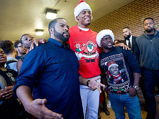 "Star Tracks: Thursday, December 17, 2015 | SECRET SANTA | North Carolina high school students get a special surprise as Ride Along 2's Ice Cube and Kevin Hart join Panthers quarterback Cam Newton for the player's annual ""Santa Cam's Surprise Sleigh"" event on Tuesday."