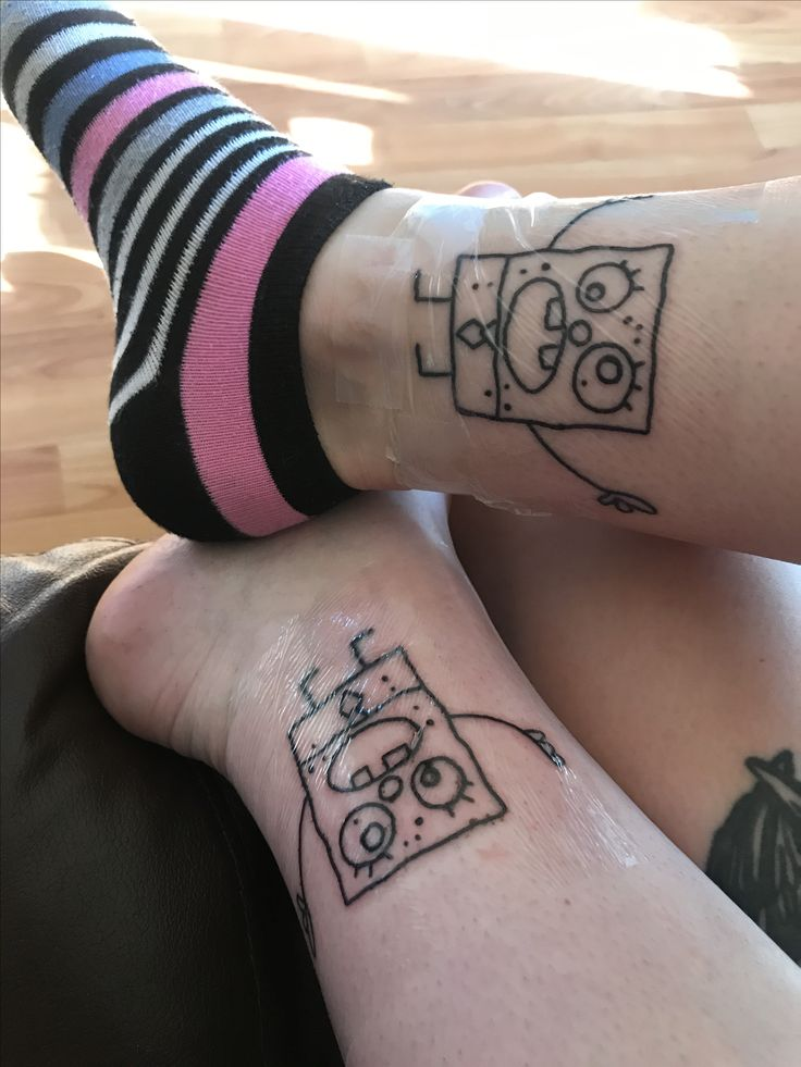 Best friend Doodlebob tattoo (Spongebob). Wrapped in Saniderm. Done by Kira Knowlton at White Lodge Tattoo.