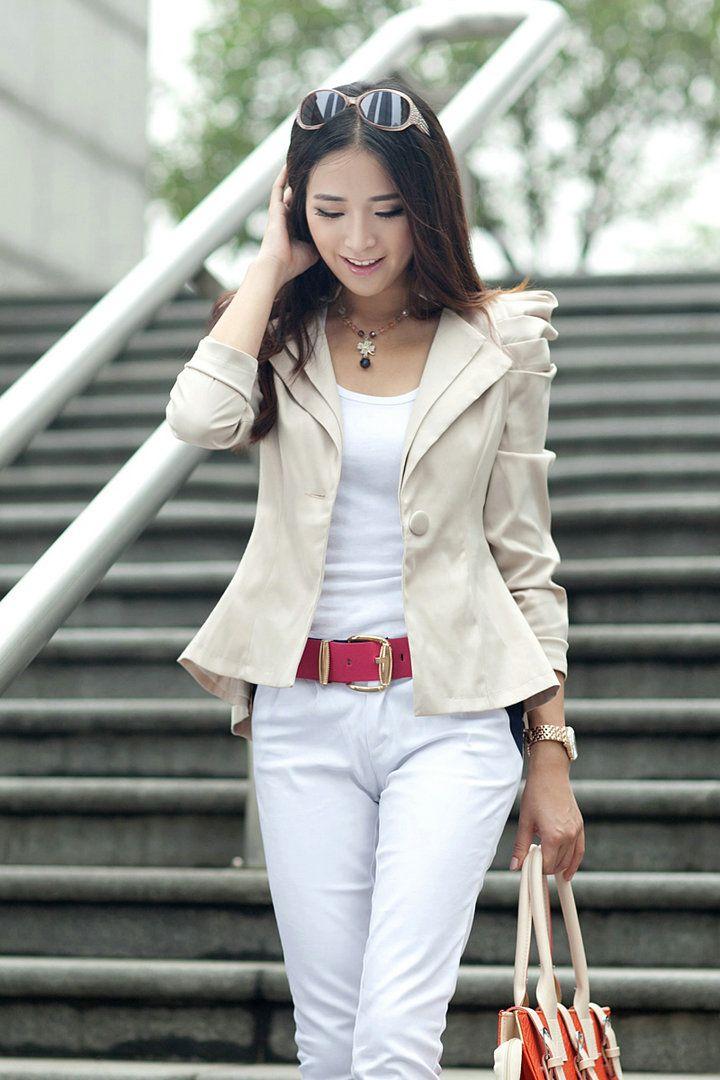 envío gratis 2013 marca nuevo otoño breve blazer chaquetas para mujer slim blanco ol casual elegante estilo