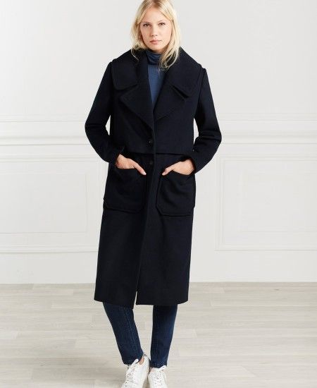 Manteau long marine à bavolets One Step