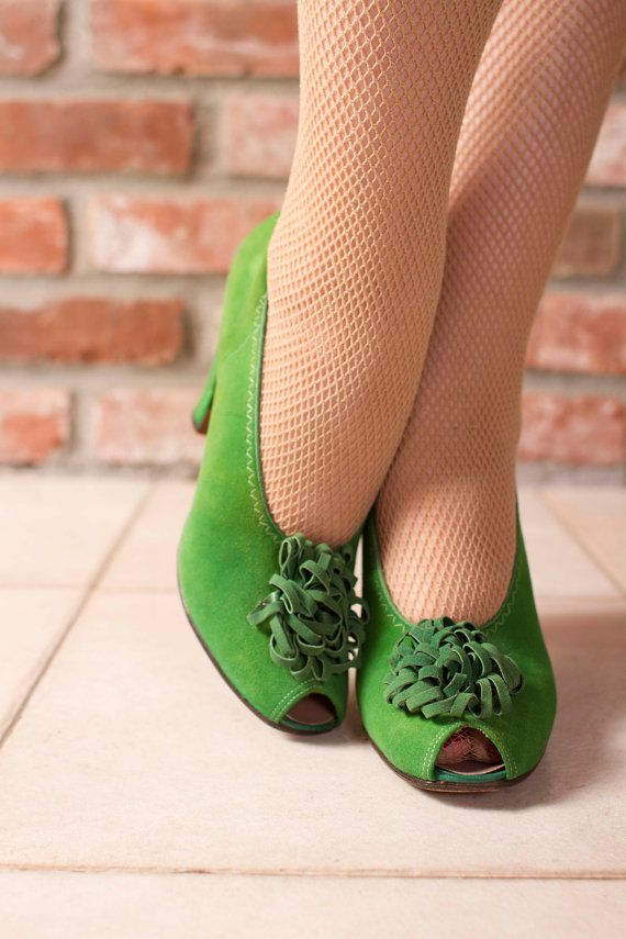 Vintage: Baby Doll Pumps with Pom Pom Peep Toe in Billiard Green Suede (circa.1940's) by FabGabs