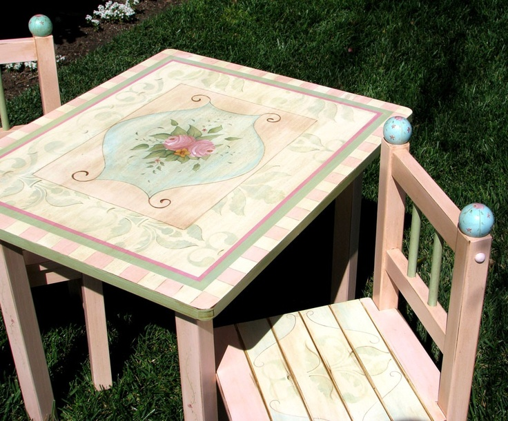 Image Detail For  Childrens Cottage Shabby Chic Tea Party Table And Chairs    Hand .