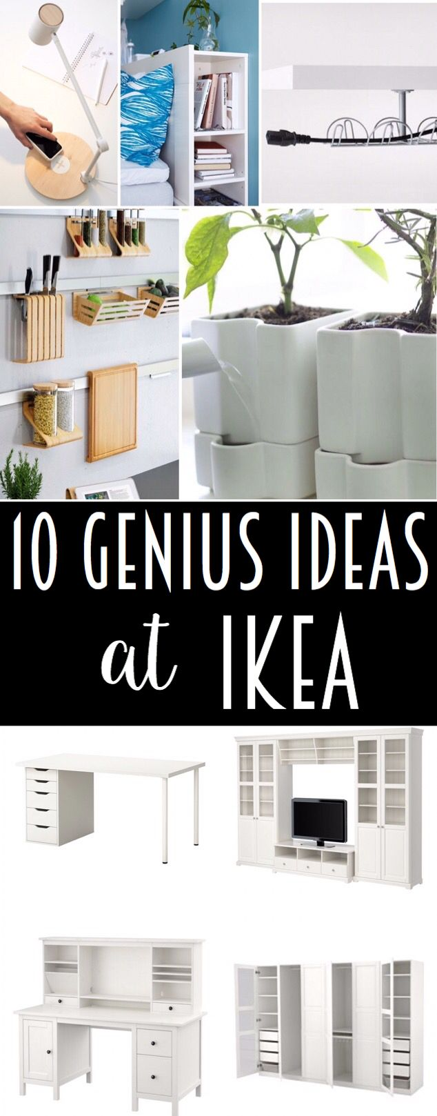 Check out this article for 10 genius organization hacks and ideas at IKEA! Whether you are working on your bedroom, kitchen, living room or an entire apartment or office this article is packed with great ideas. #ikeahacks #ikeabedroom #kitchenorganization #ikeacloset
