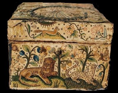 17th century embroidered casket, England