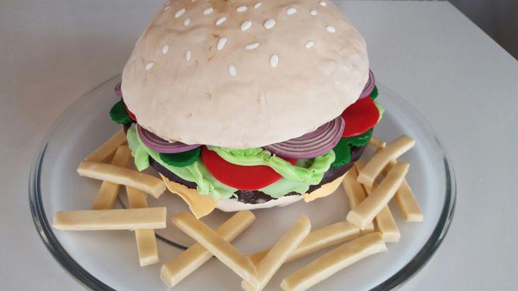 Hamburger cake with fondant fries