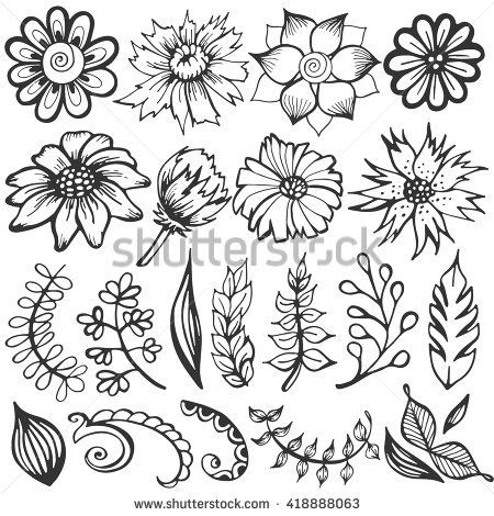 Doodle set of flowers and leaves. Vector sketch illustration. Hand drawn floral elements, spring background.