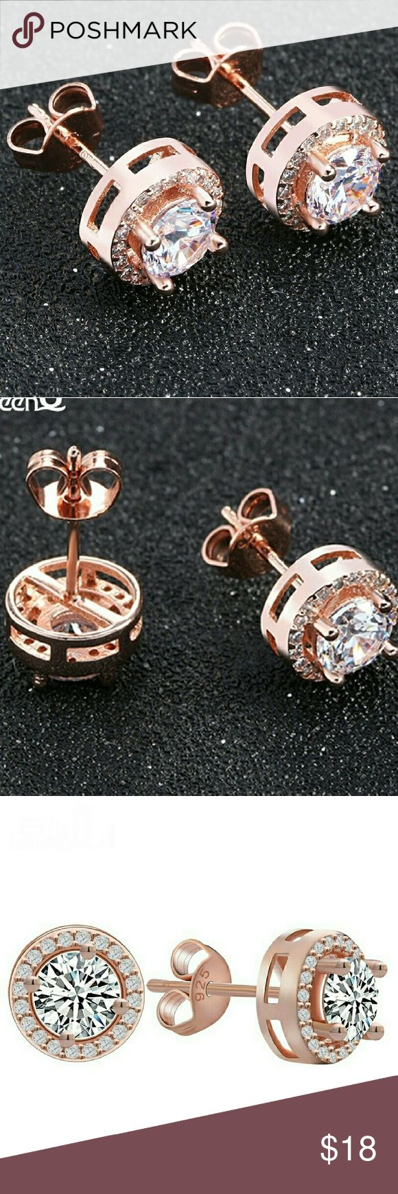 10k Rose Gold 925 CZ Halo Stud Earrings Absolutely Gorgeous!!!!!  10K Rose Gold Filled 0.75 ct Hearts and Arrows Cushion Halo Cut Triple A Austrian CZ Trendy Luxury Push-Back Stud Earrings.  Brand New Beautiful eye catching clear stones that brilliantly sparkle, glitter and glow in the light like real diamonds.   Stone: Triple A Austrian CZ  Carat: 0.75 ct Setting: Prong/Pave  Metal Type: 925 Sterling Silver  Surface Width: 6mm Cut: Hearts and Arrow Cushion Halo Brilliant  Finish: 10k Rose…