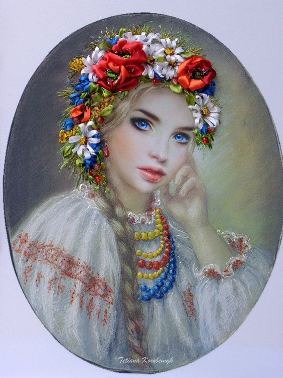 Embroidery handmade, with ribbons of silk and satin, adjusted later with the colors acrilic.The work is not framed. Measure is 47x32 cm