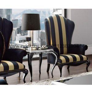 Kursi Sofa Mewah Cat Duco Hitam Cantik