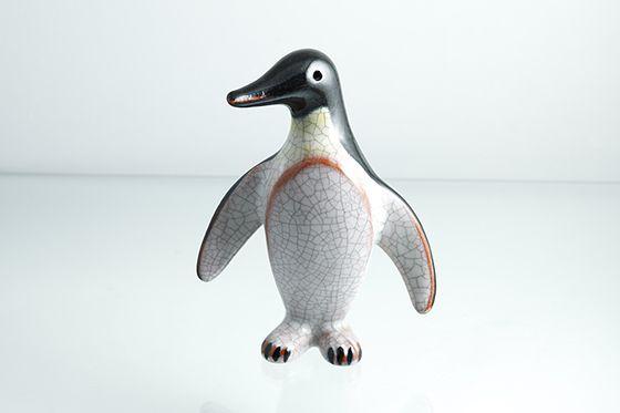 1950年頃 ウォルター・ボッセ ペンギンのフィギュア カールスルーエ・マジョリカ 15cm  - アンティーク