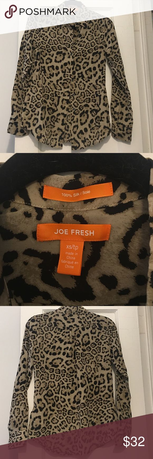 100% Silk Leopard Pattern Blouse Beautiful, never worn Blouse from Joe Fresh.  I love it but I'm not a leopard gal and never ended wearing it. 😟 Joe Fresh Tops Blouses