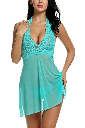 Kinikiss Nuisette Transparente Courte en Dentelle Dos Nu Lingerie Féminine  Robe de Nuit Erotique Deshabillé Femme Sexy avec String Verte 48c80178e641