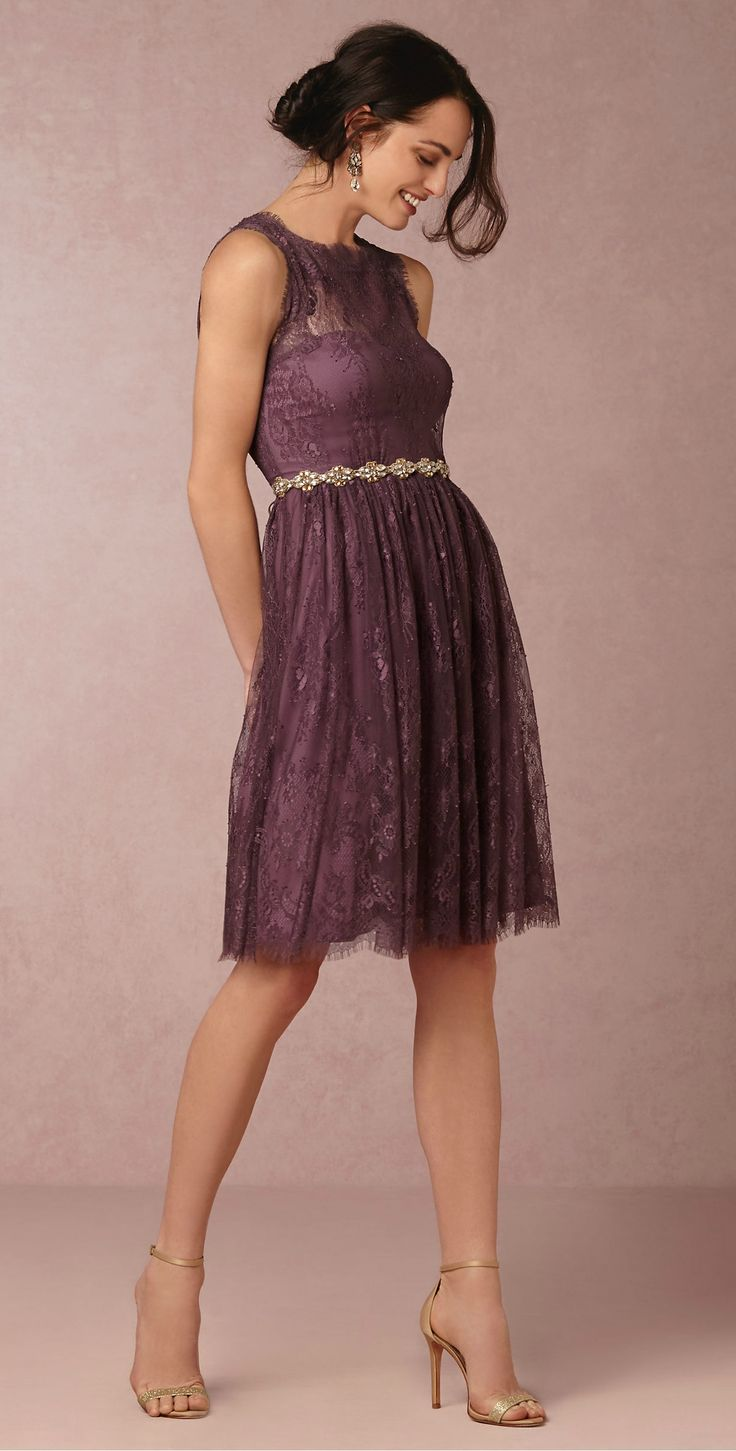 Purple lace bridesmaid dress from @BHLDN