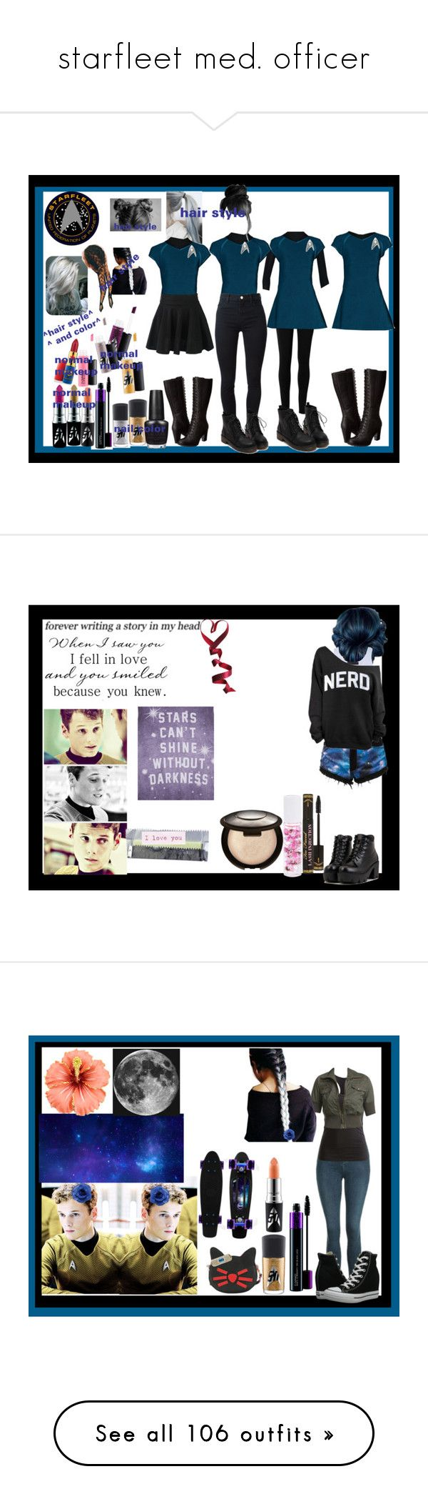 """""""starfleet med. officer"""" by thin-mint on Polyvore featuring Max Studio, Timberland, J Brand, MAC Cosmetics, OPI, Tusnelda Bloch, Bambam, Too Faced Cosmetics, Hot Topic and Becca"""