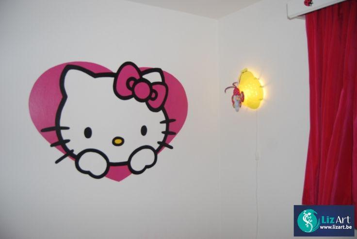 Muurschilderingen Hello Kitty - Lizart schildert prachtige wandschilderingen en decoraties voor in de kinderkamer of babykamer van al uw favoriete figuren!