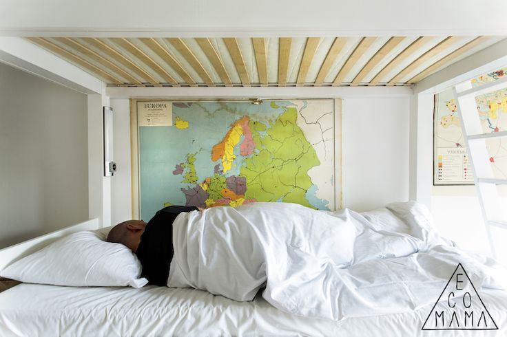 Travel in your dreams and wake up looking at a map to remember it better! Nice idea from @Ecomama Hotel!  Read the full article about this #5StarHostel located in #Amsterdam at http://hostelgeeks.com/5-star-hostel-ecomama-amsterdam/