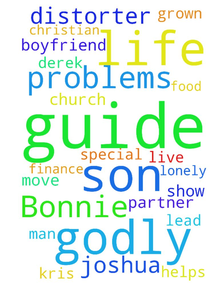 Please pray for me name Bonnie prayers God would guide - Please pray for me name Bonnie prayers God would guide me and help me lead me show me were to move and live wisdom prayers for God to guide me to Godly man for my life because I get lonely prayers he turns into Christian boyfriend then Godly husband prayer partner for my life prayers for God to guide me to Country church and prayers for God helps with my finance problems and for my food distorter problems prayers for my grown kids…