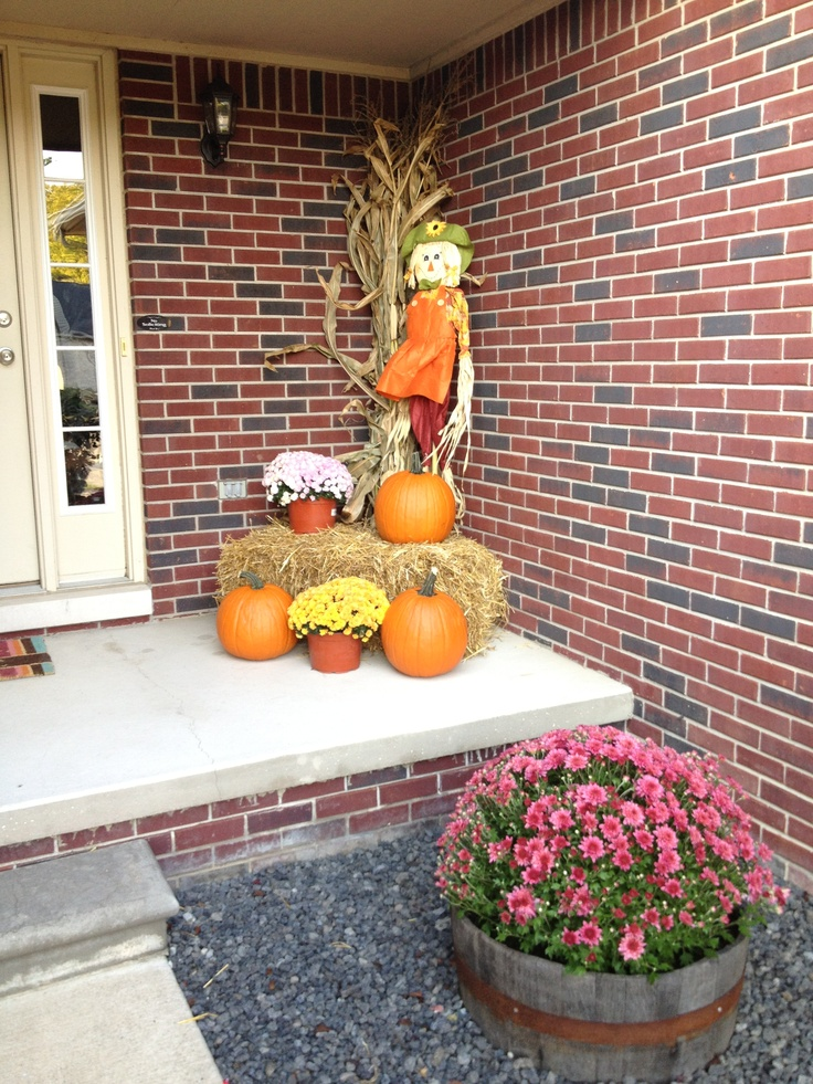 My simple fall decorations big mums in barrels pumpkins Fall outdoor decorating with pumpkins