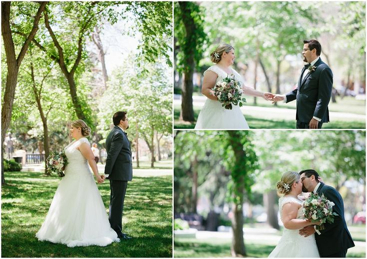 From the bride, Joanna: Our day began in our suite at the Hotel Saskatchewan by spending some quiet time together drinking coffee and exchanging gifts. The groom then went off to meet his siblings …