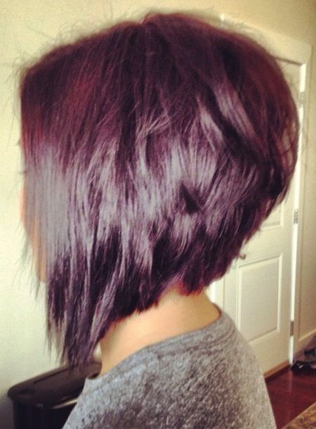 Choppy Stacked Inverted Bob Haircut Side View