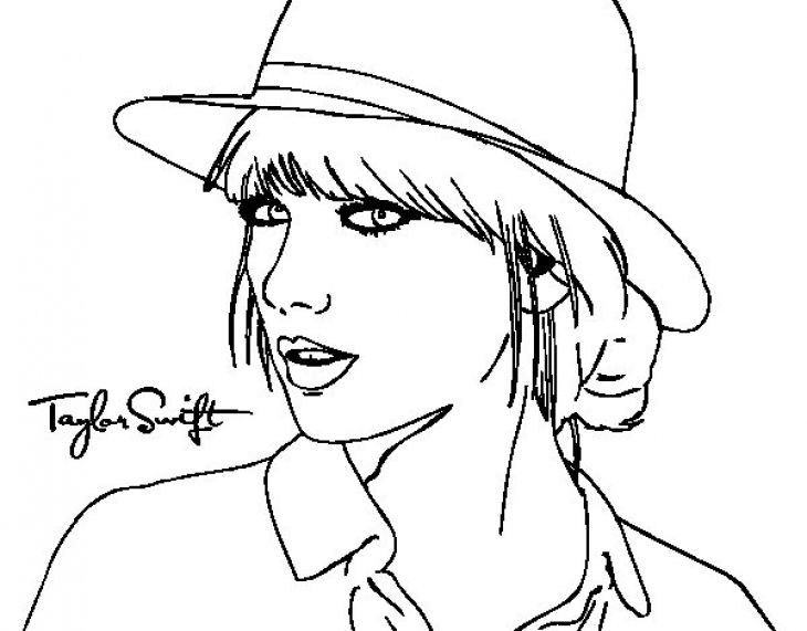 Taylor swift with her hat coloring page to print online for Black and white celebrity prints
