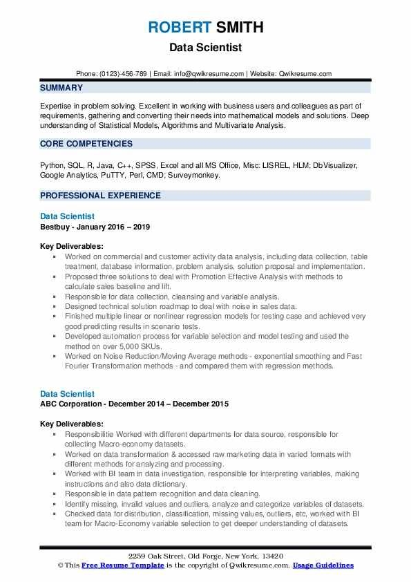 Data Scientist Resume Samples Qwikresume In 2020 Data Scientist Job Resume Samples Job Resume Examples