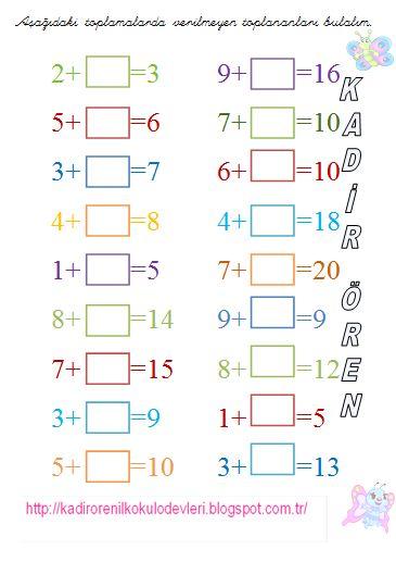 ilkokul ödevleri: 1. Sınıf Toplamada verilmeyen
