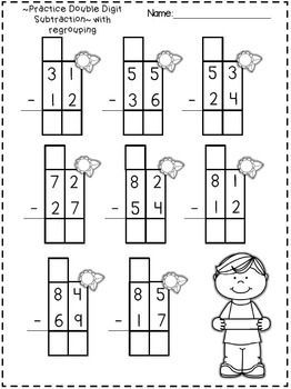 Freebie in the Preview!  Double Digit Addition and Subrtraction Printables~  WITH regrouping!  YAY!