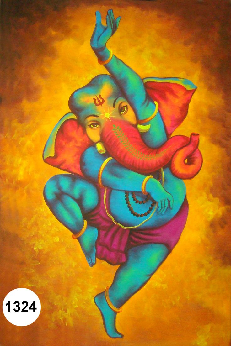 Dancing Ganesh ji, Fluorescent painting Glow in dark, UV Glow, 1324 | Modern Arts