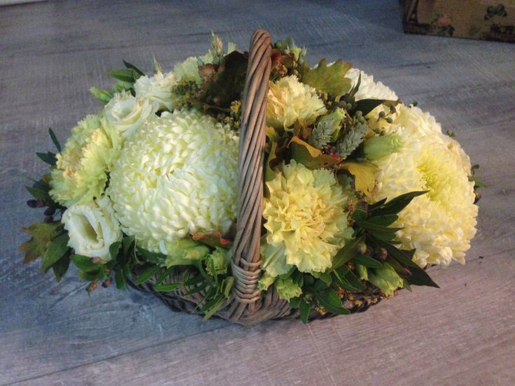 Autumn basket with chrysanthemums