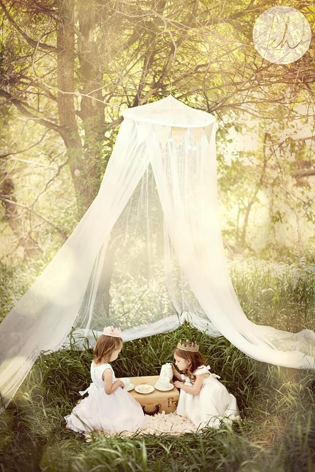 Love the idea of a tea party photo shoot for little girls.