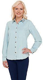 Denim & Co. Stretch Denim Shirt w/ Studded Collar Detail