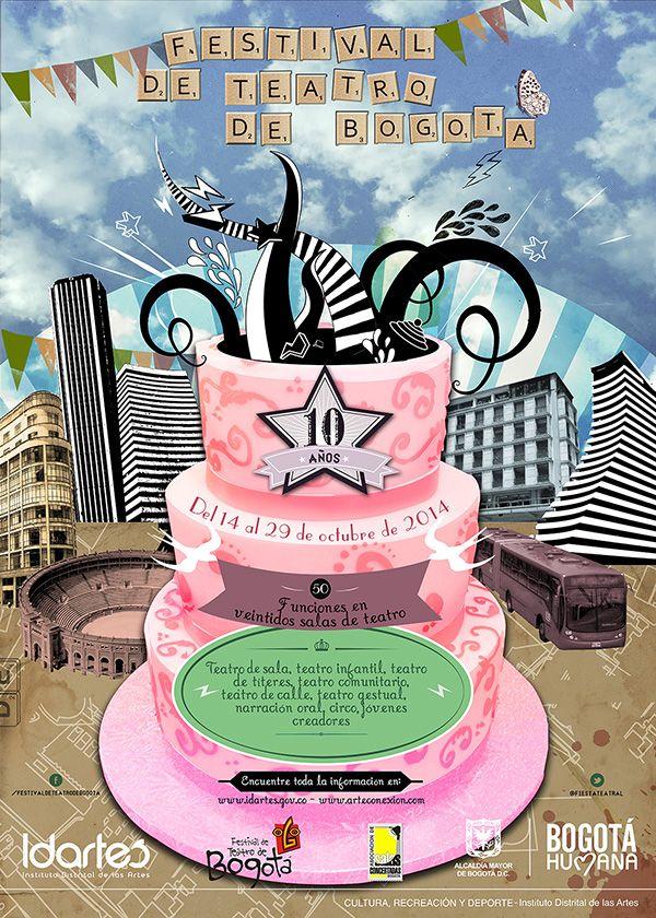 Afiche X Festival de Teatro de Bogotá. Diseño: Daniel Roa. Bogotá, 2014.