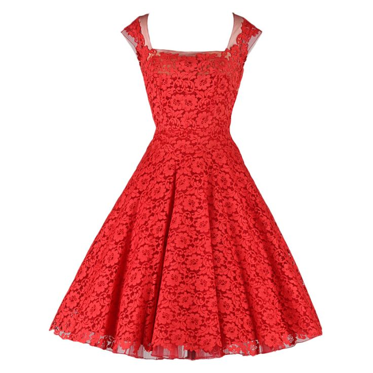 Vintage 1950's Peggy Hunt Cherry Red Lace Dress | From a collection of rare vintage evening dresses at http://www.1stdibs.com/fashion/clothing/evening-dresses/