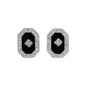 Onyx and Cubix Zarconia Fancy Diamond Earrings in Beaumont, TX | Alter's Gem