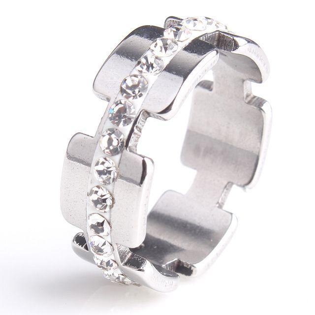 20 pz/lotto 8mm Bump Argilla Singola riga di cristallo Dell'acciaio Inossidabile 316l anelli di barretta per le donne degli uomini all'ingrosso