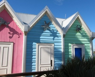 Beachy pastels, huts reminiscent of Muizenberg