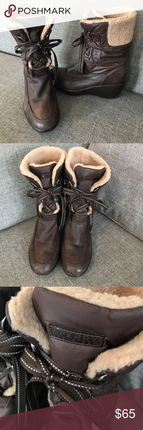 Sperry - Brown Winter Boots. Sperry - Brown Winter Boots. Dark brown boots with light brown faux fur lining, brown lace front boots, wedge type heel. Sperry Shoes Winter & Rain Boots