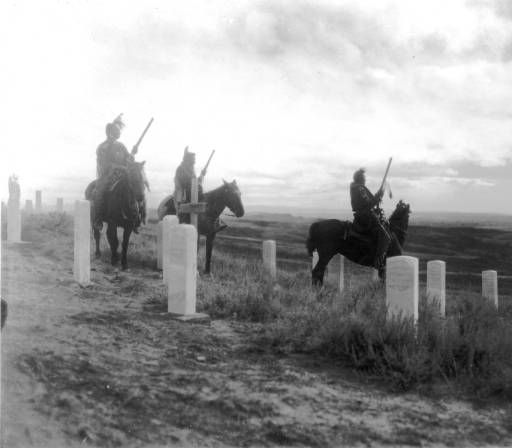 Sunrise on Custer Battle field, the Custer scouts are Indians who were with Custer the morning of the fight, 1908