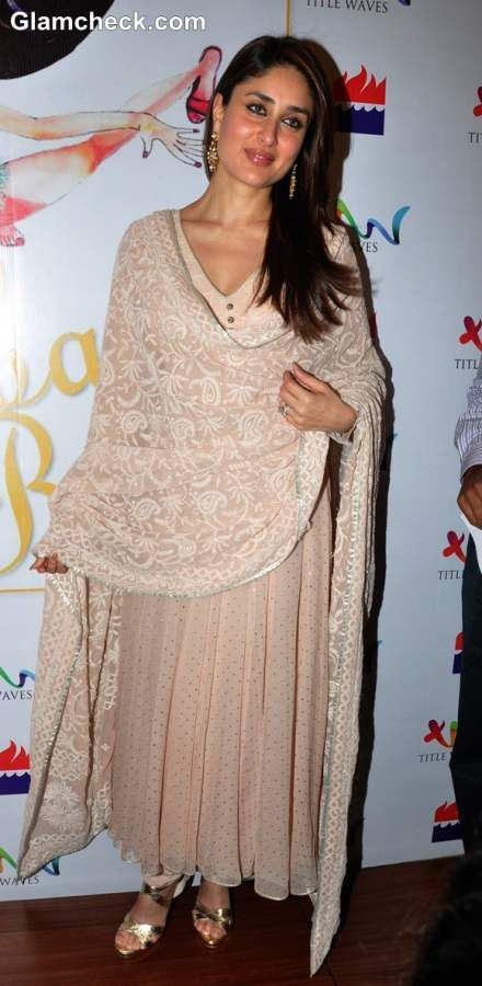 Kareena kapoor beige anarkali suit At Richa Lakheras Book Launch