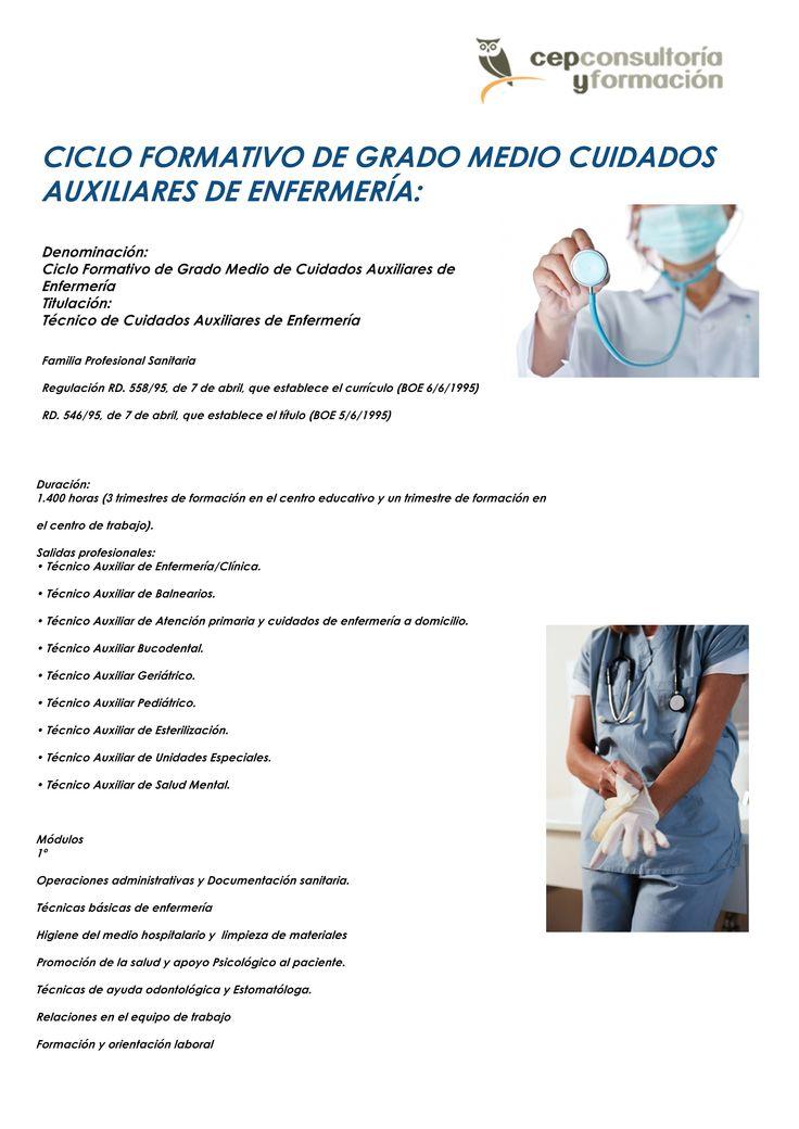 CICLO FORMATIVO DE GRADO MEDIO CUIDADOS AUXILIARES DE ENFERMERÍA:    Denominación: Ciclo Formativo de Grado Medio de Cuidados Auxiliares de Enfermería Titulación: Técnico de Cuidados Auxiliares de Enfermería