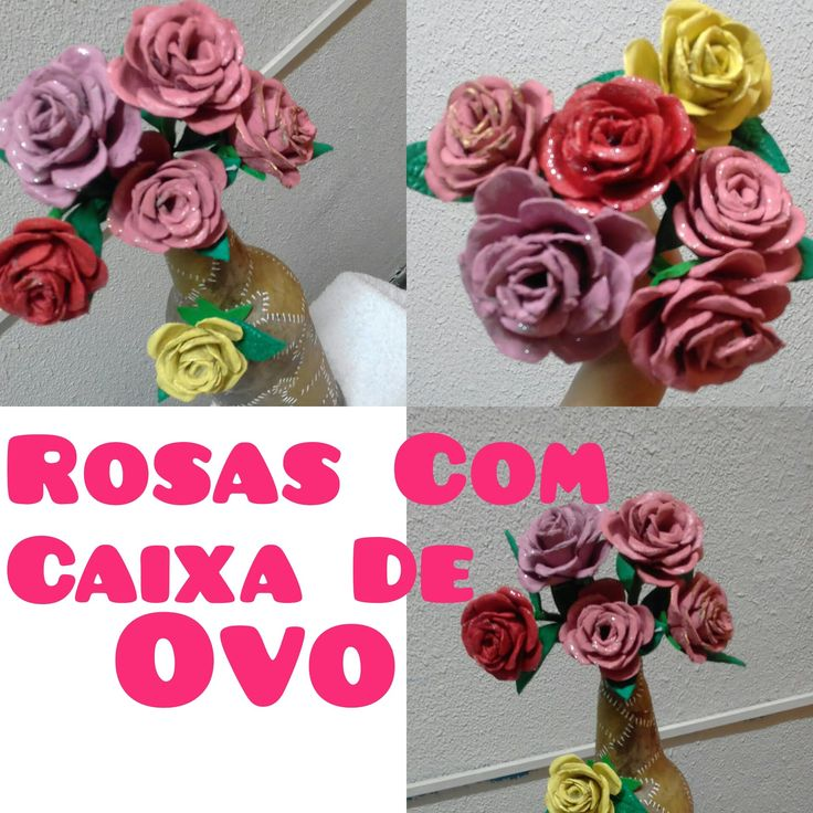 ROSAS DE CAIXA DE OVO- Reciclagem 》Denise Cardozo