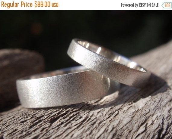SALE 10% OFF wedding band set of 2 brushed / satin by preciousjd