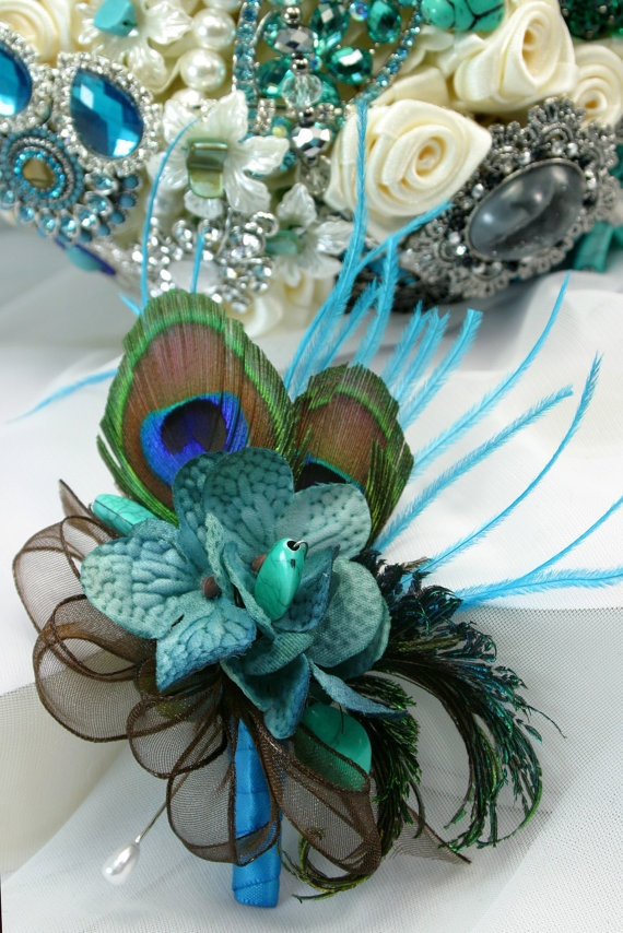 Teal turquoise peacock jeweled pin corsage by annasinclair on Etsy, $35.00