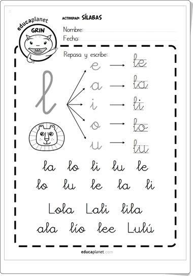 """""""Cartilla de lectura de sílabas directas"""" de Educaplanet"""
