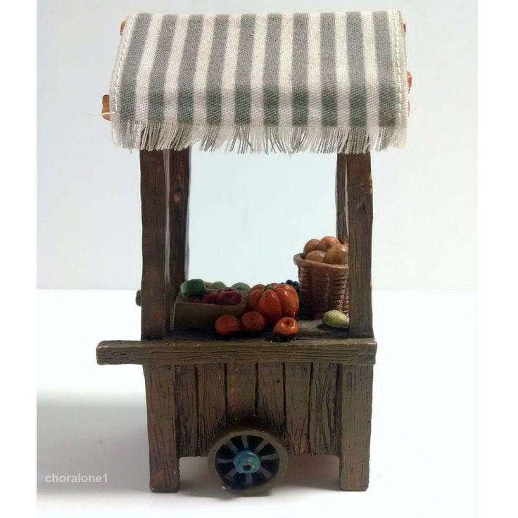 Fontanini Nativity Collection Vegetable Fruit Cart Stand Figure, 1997 Roman Inc