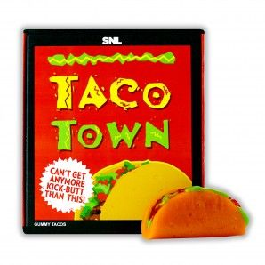 """Always something to make you laugh at IT'SUGAR like these Gummy tacos can't get anymore kick-butt than this! Inspired by SNL's """"Taco Town"""" Parody."""