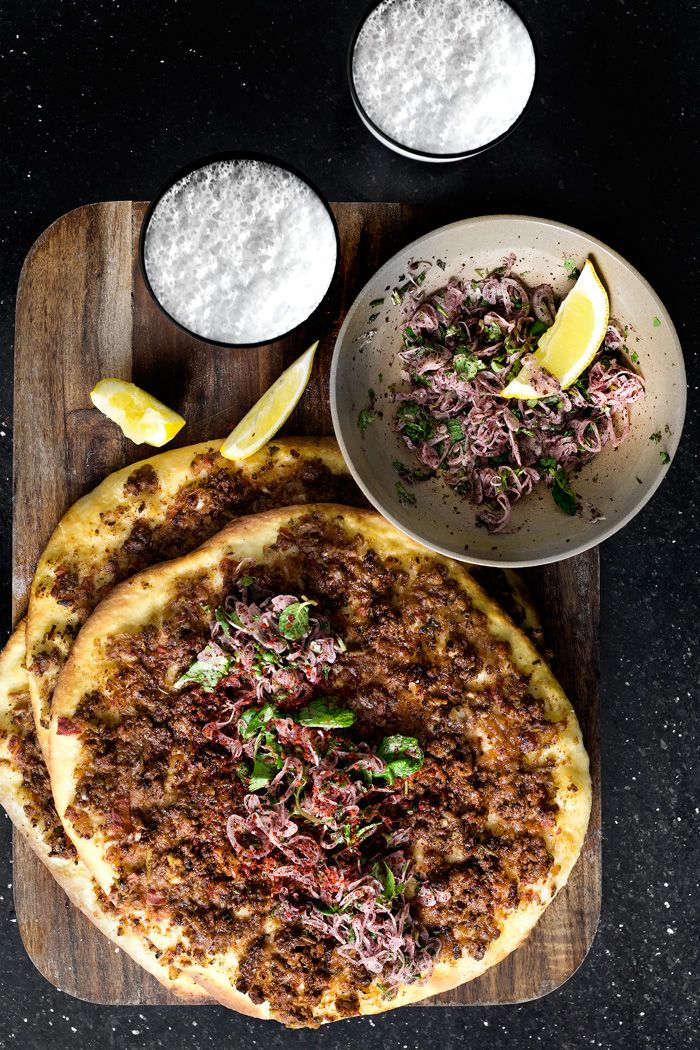 Turkish Lahmacun Flatbread with Sumac Lamb, Tomato, Paprika, Shallot, Mint and Lemon Yogurt