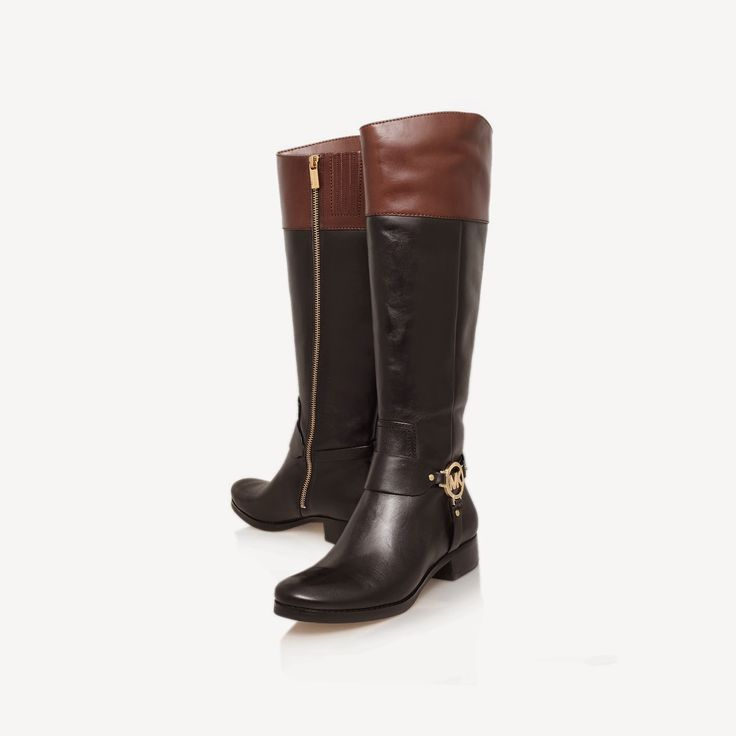 michael kors black and brown low heel ankle boots fulton